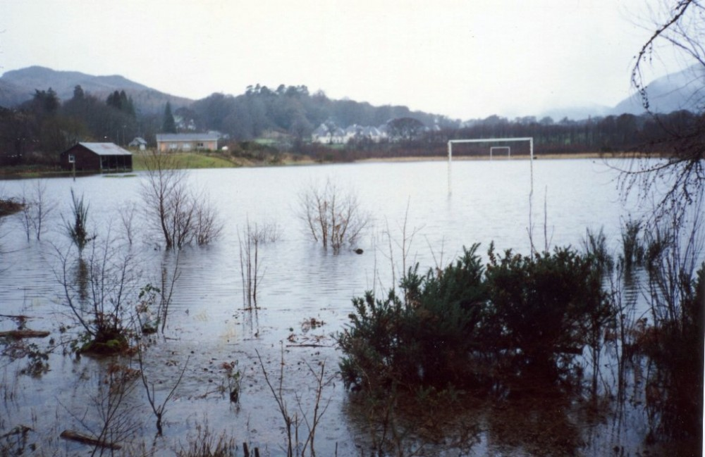 Factory field flooded 1989.     Shinty match cancelled water polo instead  Photograph courtesy of  Buddy Macdougall