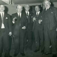 Social Evening, location & occasion  unknown.  Willie Cooper (Whitebridge), David Smith (Elmbank Foyers ), Sam Martin (Foyers), Unknown, Jock Forbes ( Foyers Mains).  Photograph courtesy of David Smith