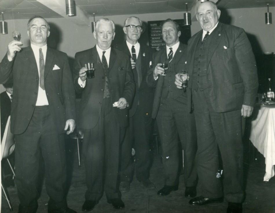 Social Evening, location & occasion  unknown.  Willie Cooper (Whitebridge), David Smith (Elmbank Foyers ), Sam Martin (Foyers), Unknown, Jock Forbes ( Foyers Mains).  Photograph courtesy of David Smith