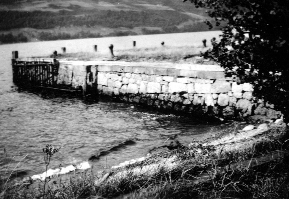 Inverfarigaig Pier   Built by Thomas Telford in the eighteen twenties as part of the Caledonian Canal infustructure photo taken in 1935? Photograph courtesy of Roger Creegan