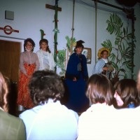 Stratherrick School Play1986 L-R Laura Matheson,Clair Taylor, Jennifer Ross , unknown.