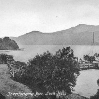 Inverfarigaig Pier c1912  with the paddle steam ship alongside possibly the Gondolier .   Photograph courtesy of Alister Chisholm