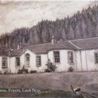 Boleskine House in 1986 painted by Gordon M Scott who lived at Wester Aberhaulder . This image is from  a post card of the painting which has a thirties look about it  . Boleskine House  was built in the early years of the 19th Century by Archabauld Fraser of Lovat .   Unfortunatly Boleskine house went on fire on 23 Dec 2015 and was extensively damaged .