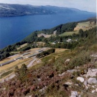 1970 Foyers Hydro Pump Storage Scheme  Camp .  One of the two camps in the district used to house the workmen employed in the Hydro Scheme. This one was situated on the hillside above and west of Boleskine cemetery. Photograph courtesy of Duncan Cameron