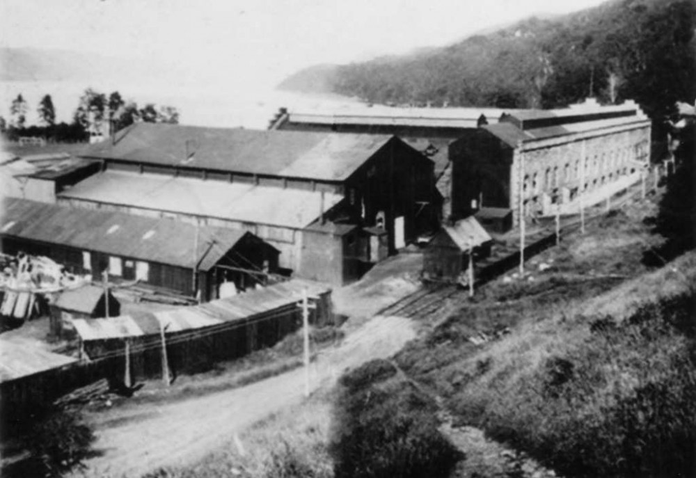"Foyers Factory around the fifties  , a rare view of the rear of the factory ,small shed in center of photo was for garaging the Pug  railway engine ""Fair Maid of Foyers "" which run between the factory and the pier . Photograph courtesy of Duncan Cameron"