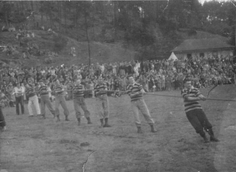 Foyers Tug of War Team c1935  at the town park Fort William .    Photograph courtesy of Ala Macgruer