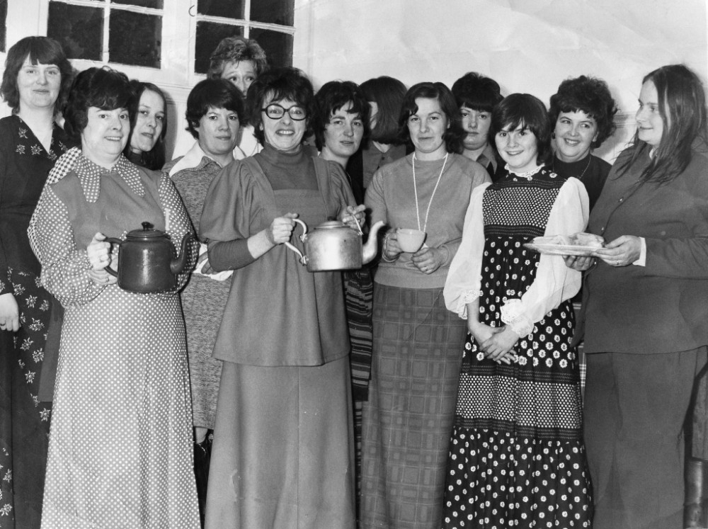 Foyers Young Wife's Group Dec 1975  May Ross, Jannette Colville, Heather Macgruer, Joan Cameron , Ruby Grant, Ann Lewis, Sandra Forbes, Loraine Fraser, Helen Hards, Kath Fraser, Anne Colville, Anne Macleod,  Rosemary Greenlaw. The group ran fund raising events such as whist drives ect  to provide monies for their  pensioners Christmas Party . Photograph courtesy of Ala Macgruer