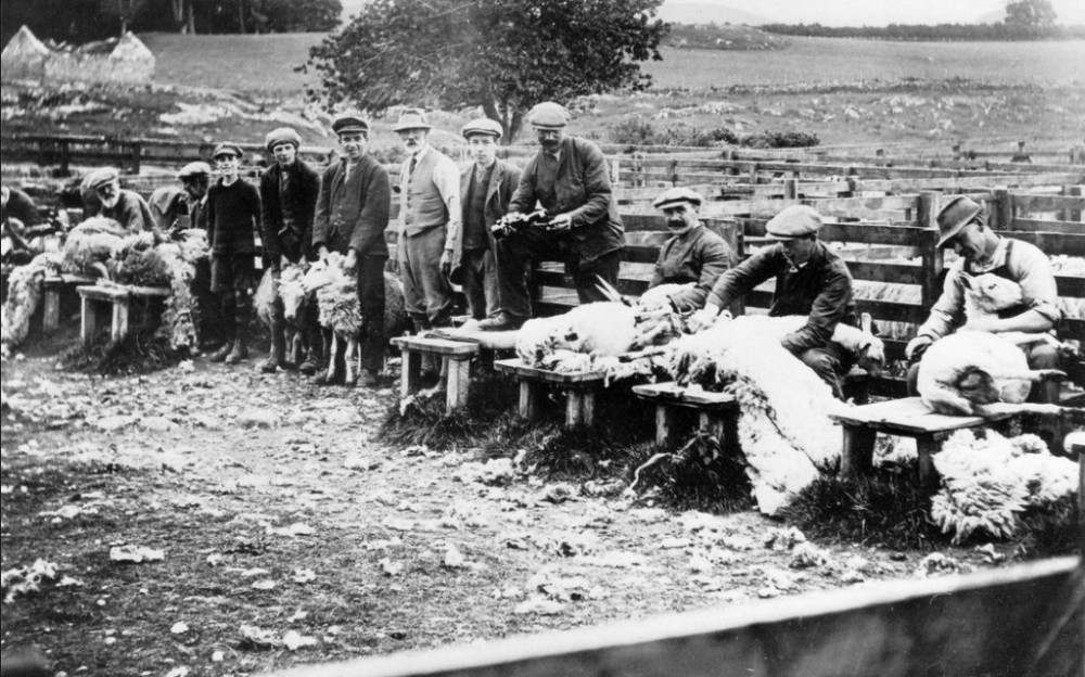 Sheep shearers at Gorthleck Mains around 1930 only people identified were  Angus Matheson Gorthleck Mains pouring the dram out of the bottle and next to him sitting his brother Jock Matheson of Ruthven .
