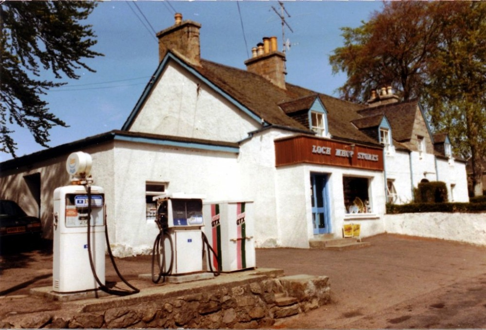 Loch Mhor Stores 1985, The local shop which had been owned by the MacGillivray family for over eighty years was sold Karl Hienz Fraser in 1985. This is the photo that appeared on the sales schedule.    Photograph courtesy of Fiona Larg