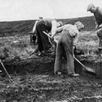 Balnabeeran Peat Cutting   c1935.  The boy is Hugh Fraser  {Balnabeeran ) . Photograph courtesy of John Fraser