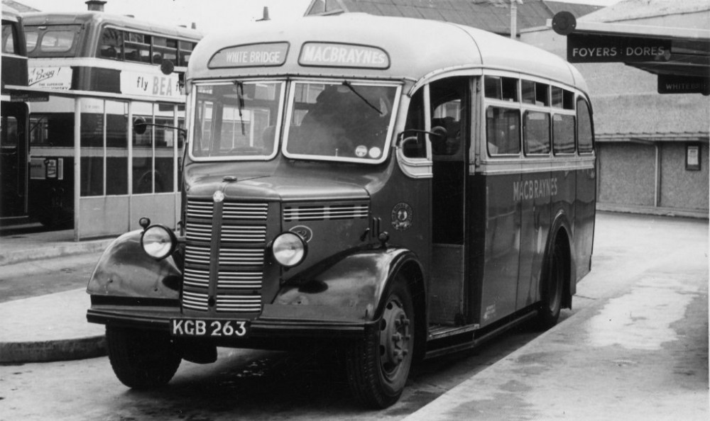 Whitebridge bus around 1950, taken at the bus stance in Farraline Park , Inverness, which also served the Dores & Foyers bus services . Photograph courtesy of Alister Chisholm