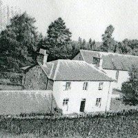 Dores Free Church & Manse c1952 was located approx 550 yards directly south east of Aldourie School  now called Tigh na Coille and accessed now via the Darris road, just before the McBean Memorial Park . The buildings date from 1847 . The three buildings are the stables , manse and church at the rear . The church building is no more  and the manse is a private house.