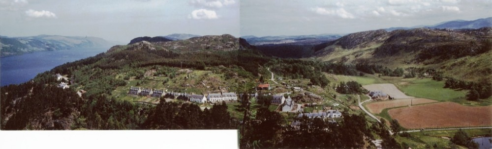 Glenlia  ,view is of two photos merged together, showing all the gardens that were once so prevalent in the area now overgrown .  Photograph courtesy of  Billy Cameron