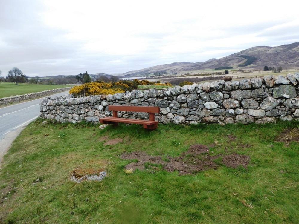 19 April  East dyke and bench.  Photograph courtesy of Alister Chisholm