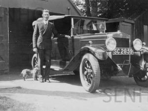 John MacGillivray with car at Lyne c1930..