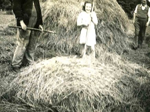 The family around a haystack.